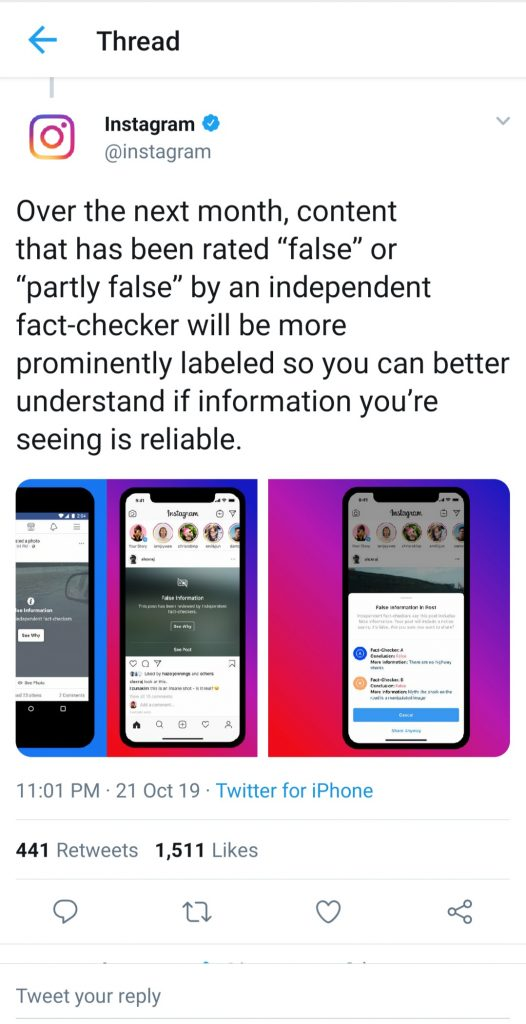 Instagram feature Flagging false information