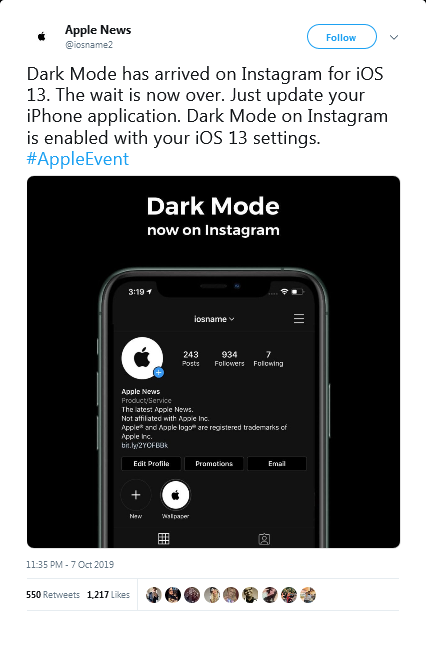 Dark mode on Instagram