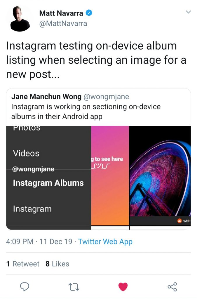 On-device albums for Instagram