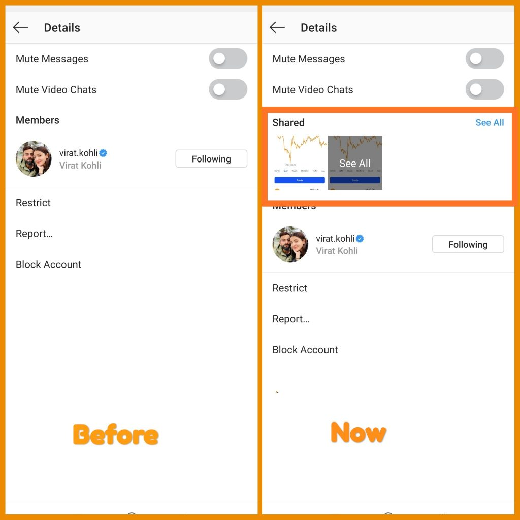 Shared media in Instagram chat